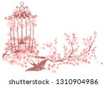 swallow bird  open cage and...   Shutterstock .eps vector #1310904986