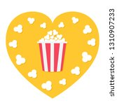 popcorn popping. red yellow... | Shutterstock .eps vector #1310907233