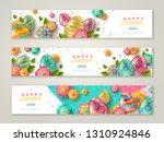 easter horizontal banners with... | Shutterstock .eps vector #1310924846