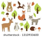 set of forest animals. cute... | Shutterstock .eps vector #1310933600