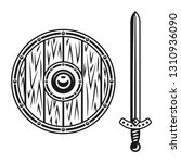 wooden shield and sword set of... | Shutterstock .eps vector #1310936090