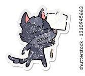 distressed sticker of a cartoon ... | Shutterstock .eps vector #1310945663