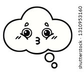 cute cartoon of a thought bubble | Shutterstock .eps vector #1310953160