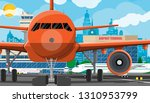 plane before takeoff. airport... | Shutterstock .eps vector #1310953799