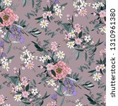 trendy bright floral pattern in ... | Shutterstock .eps vector #1310961380