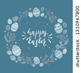 holiday card with easter eggs... | Shutterstock .eps vector #1310967800