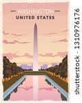 washington monument retro... | Shutterstock .eps vector #1310976176
