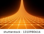 3d render, orange neon light, abstract ultraviolet background, laser grid, virtual network, glowing lines