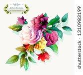 peony bud flowers on white.... | Shutterstock .eps vector #1310983199