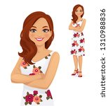portrait of smiling woman with... | Shutterstock .eps vector #1310988836
