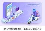 online ordering 24 for 7.... | Shutterstock .eps vector #1311015143