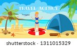 beach camping flat color vector ... | Shutterstock .eps vector #1311015329