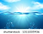 ocean underwater scene with... | Shutterstock .eps vector #1311035936
