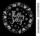 holly jolly quote with star and ... | Shutterstock .eps vector #1311054833