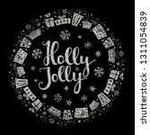 holly jolly quote with star and ... | Shutterstock .eps vector #1311054839