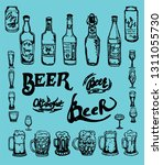 set of beer objects. hand drawn ...   Shutterstock . vector #1311055730