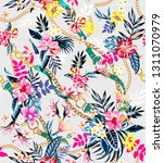 seamless colored tropical... | Shutterstock . vector #1311070979