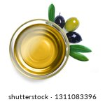 glass bowl with olive oil with... | Shutterstock . vector #1311083396