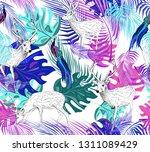hand drawn white deers  blue... | Shutterstock .eps vector #1311089429