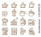 coffee icons set brown color | Shutterstock .eps vector #131109110
