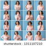 Stock photo beautiful young woman with different emotions on color background 1311107210