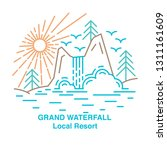 template with waterfall resort  ... | Shutterstock .eps vector #1311161609