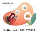 shopping online banner web... | Shutterstock .eps vector #1311191363