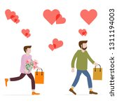 men with flowers and gifts ...   Shutterstock .eps vector #1311194003