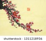 plum blossom on a yellow... | Shutterstock . vector #1311218936