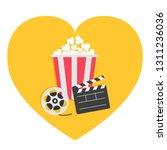 open clapper board movie reel...   Shutterstock .eps vector #1311236036