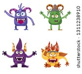 Stock vector set of cute funny characters troll bigfoot yeti imp with different emotions cartoon style for 1311238910