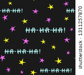 repeating stars and text ha ha... | Shutterstock .eps vector #1311257870