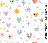 hand drawn seamless pattern... | Shutterstock .eps vector #1311305603