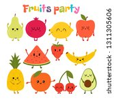 party with dancing fruits. cute ... | Shutterstock .eps vector #1311305606