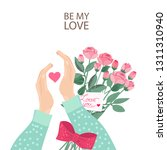 hands with rose bouquet and... | Shutterstock .eps vector #1311310940