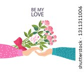 fall in love couple hands with... | Shutterstock .eps vector #1311311006