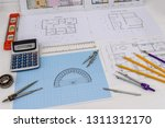 millimeter paper with drawing... | Shutterstock . vector #1311312170