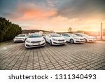 Stock photo new cars stock for sale at dealership prepared for customers during the sunrise in south moravia 1311340493