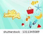 hello summer banner card with... | Shutterstock .eps vector #1311345089