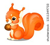 cute animated fluffy squirrel... | Shutterstock .eps vector #1311349733
