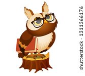 wise owl with a book stands on... | Shutterstock .eps vector #1311366176