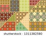 vector patchwork quilt pattern. ... | Shutterstock .eps vector #1311382580