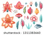 watercolor set of isolated... | Shutterstock . vector #1311383660