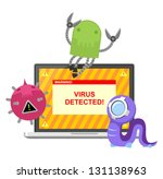 computer virus attacking laptop | Shutterstock .eps vector #131138963
