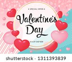 valentines day poster with pink ... | Shutterstock .eps vector #1311393839