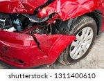 red car crash background. front ... | Shutterstock . vector #1311400610