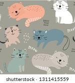 seamless pattern with cute cats.... | Shutterstock .eps vector #1311415559