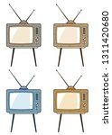 vintage obsolete tv with... | Shutterstock .eps vector #1311420680