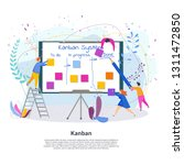 tiny people with kanban project ... | Shutterstock .eps vector #1311472850
