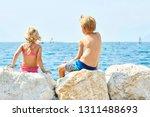 children girl and boy  siblings ... | Shutterstock . vector #1311488693